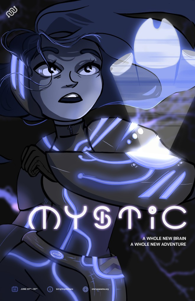 eyewire, mystic, promo poster, citizen science, sciart, mystic, eyewire heroes, characters, science, neuroscience, msty, zfish, zebrafish, daniela gamba, rob hamill, brain mapping, cool science, cool, science fiction, scifi