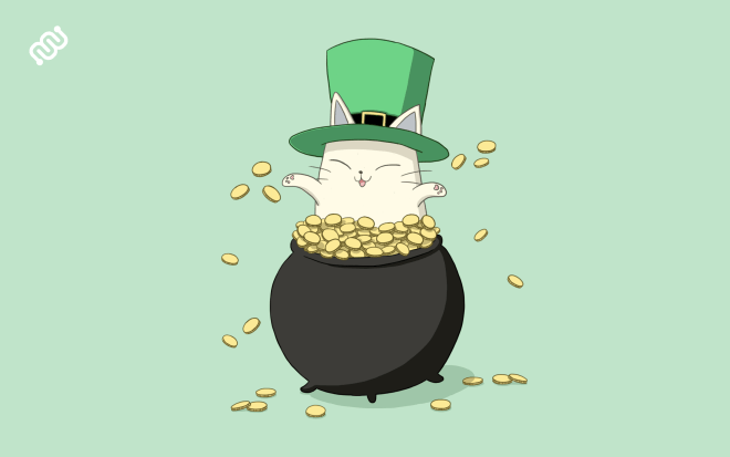 Eyewire, citizen science, St. Patrick's Day, Nurro, pot of gold, irish, lucky cat, fat cat,  march, green, gold, saint patrick's day cat
