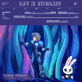 calendar, alice in wonderland, Eyewire, citizen science