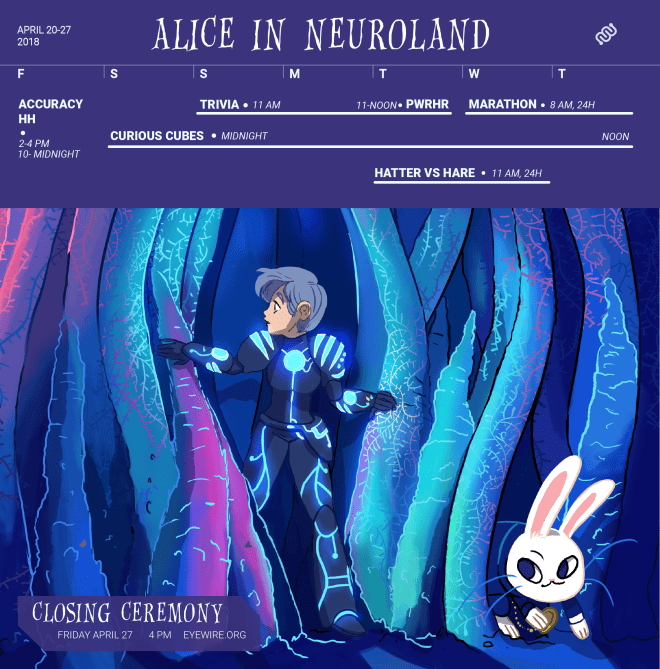 calendar, alice in wonderland, Eyewire, citizen science