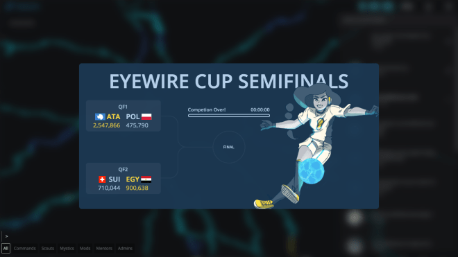 eyewire cup, soccer, football, competition, citizen science, neuroscience, neurons, semifinals, eyewire world cup, eyewire competition, science art, sciart,