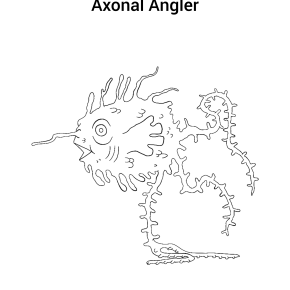 myelin sheath, myeling sheathfish, axonal angler, axon, dendrites, neuromonsters, neuron monsters, zach herman, massart, somasaur, soma, spike, glia monster, grim's haunted carnival, coloring page, coloring contest, coloring, adult coloring