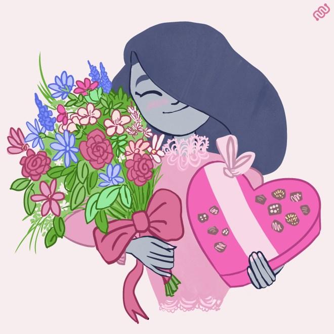 flowers, chocolate, valentine's day