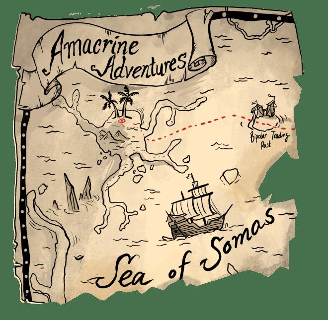 amacrine adventures, map, pirate treasure, science