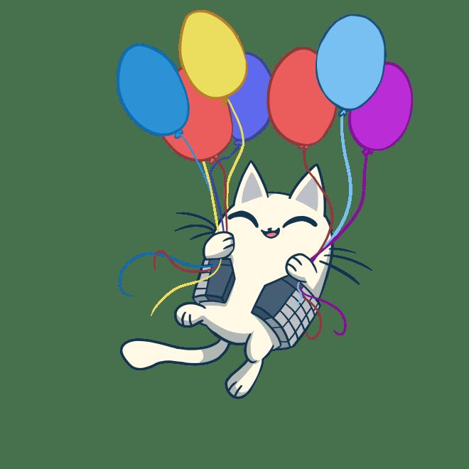 nurro, balloons, cat