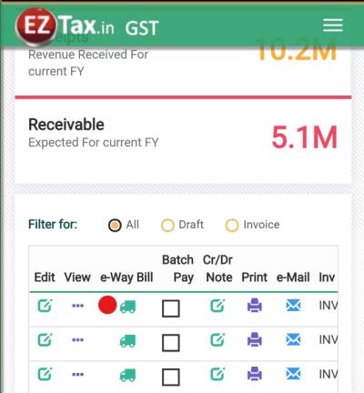e-Way Bill Step-1 in EZTax.in GST Accounting