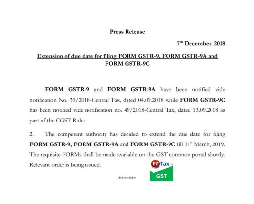 GSTR 9 due date extended | EZTax.in