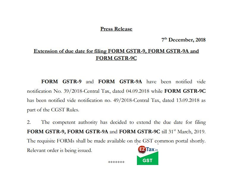 GSTR 9 due date extended | EZTax.in