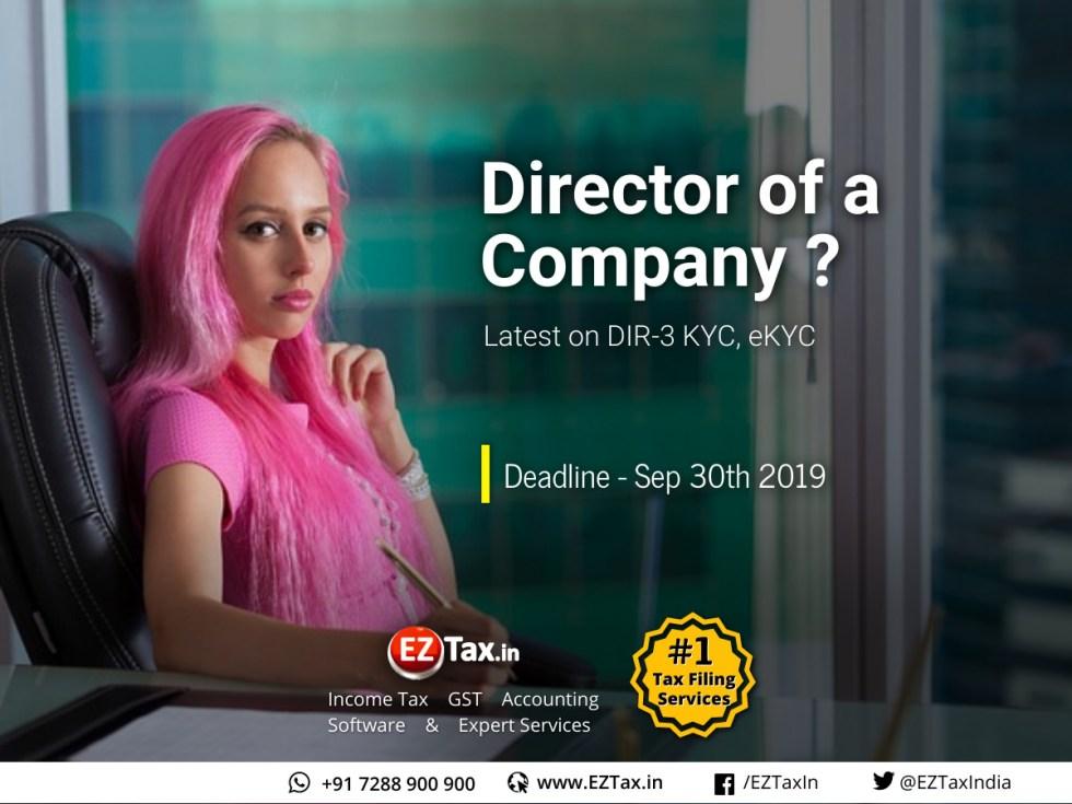Director KYC eKYC DIR-3 Deadline Sep 30th 2019