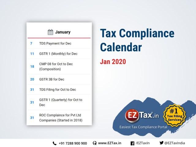 Tax Compliance Calendar for January 2020