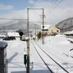 湯田中駅から上条方向を望む