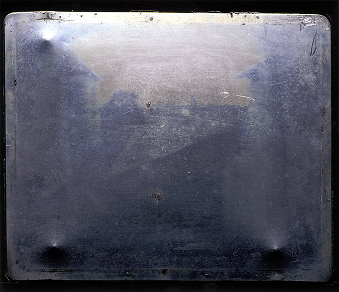 Harry Ransom Center and J. Paul Getty Museum. Color digital print reproduction of Joseph Nicéphore Niépce's View from the Window at Le Gras. June 2002. 20.3 x 25.4 cm.