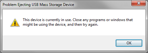 Cannot eject device