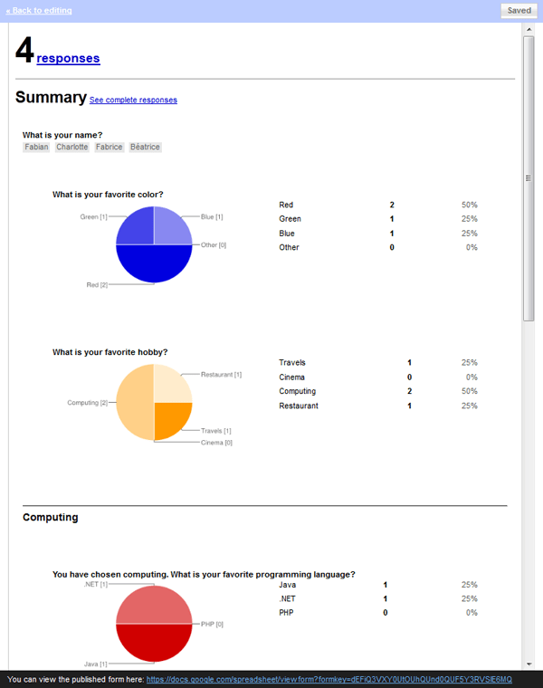 Survey answers preview