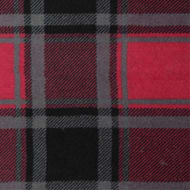 coral fleece print red grey plaid