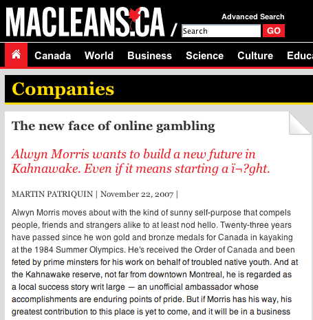 Maclean's encoding error