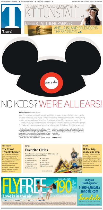 Sun Sentinel travel front by ex-Gazette design director Nuri Ducassi