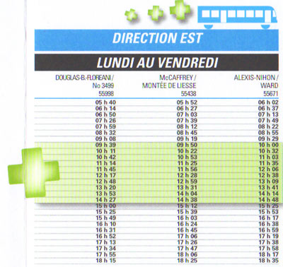 New schedule for 175 bus with added departures highlighted (via CPTDB)