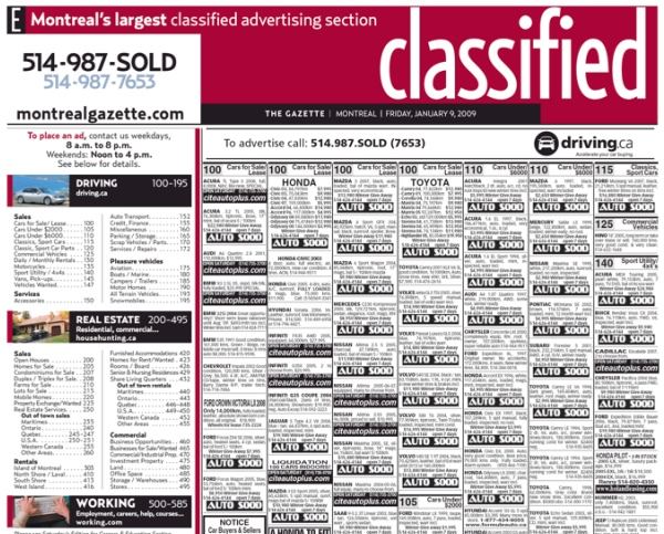 The Gazette's old classified layout