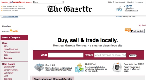 Gazette classified website, powered by Oodle