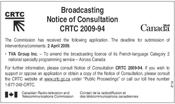 CRTC notice of consultation (March 30)