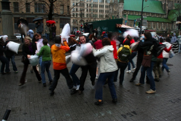 Pillow fight on April 4