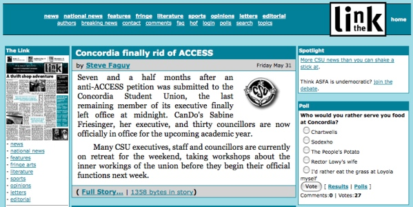 The Link's website in summer 2002