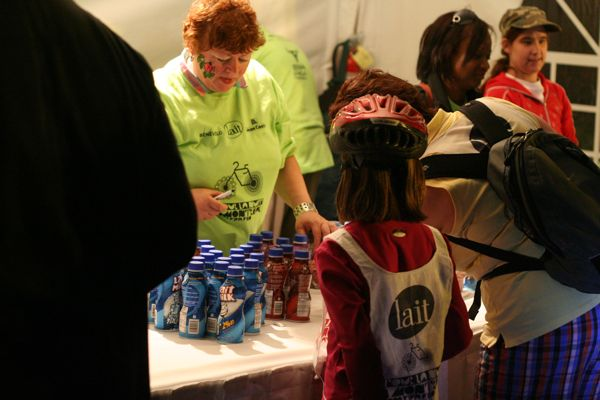 Among the swag people got was free milk (milk-product?) from the milk industry sponsor.