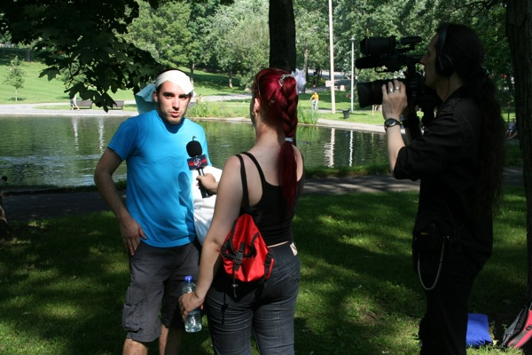 An interview of indeterminate seriousness for the video camera