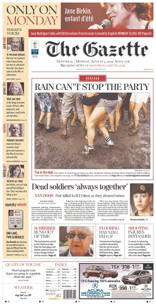 Page A1 for Monday, August 3, 2009