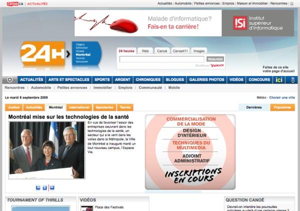 24 Heures Montréal website