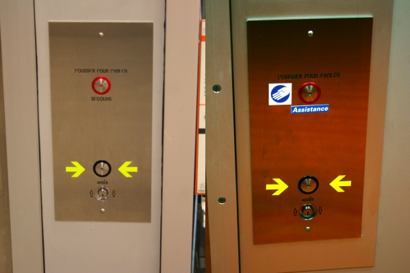 Panels at Berri-UQAM (left) and Lionel-Groulx (right)