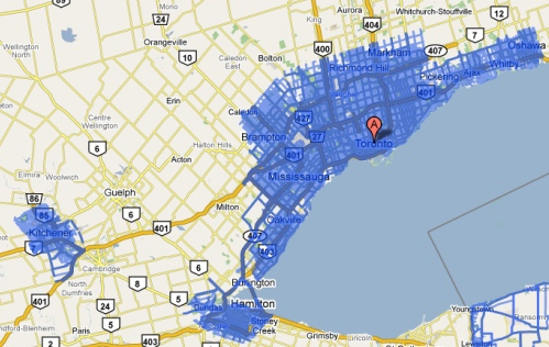 Google Street View map for Toronto/Hamilton and Kitchener