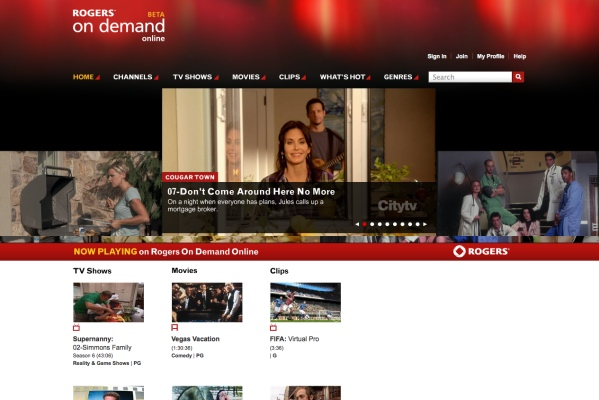 Homepage of Rogers On Demand Online