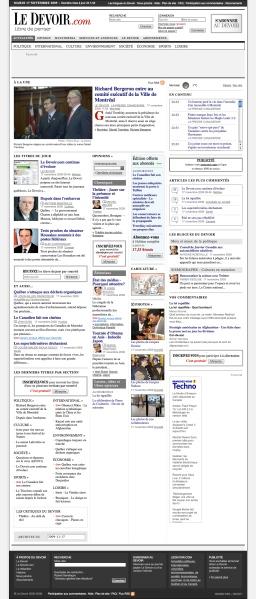 Really long Le Devoir homepage
