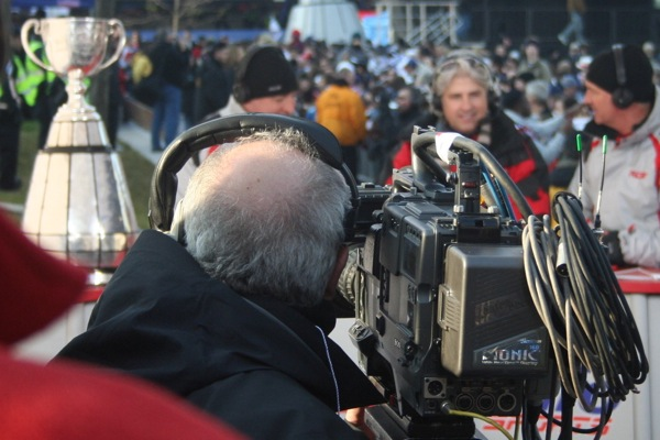 Cameraman at the RDS tent focuses on the big shiny thing on the table.