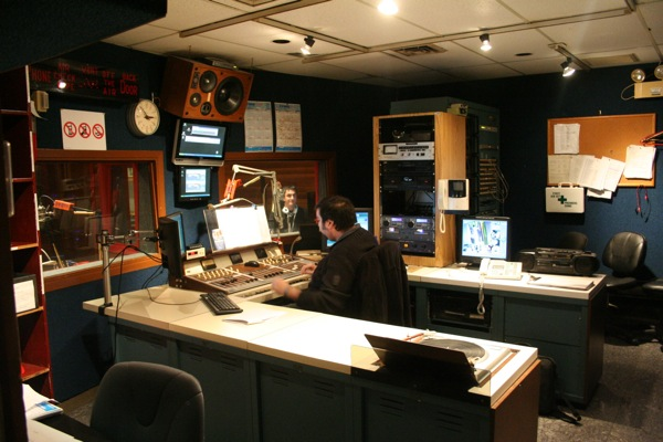 Control room at CFMB's main studio in the basement of its office
