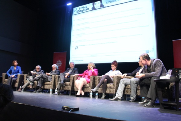 CBC Living English panel, from left: Debra Arbec, Kevin Tierney, Terry Mosher, Jean-François Lisée, Anne-France Goldwater, Tamy Emma Pepin, John Stokes, Mike Finnerty