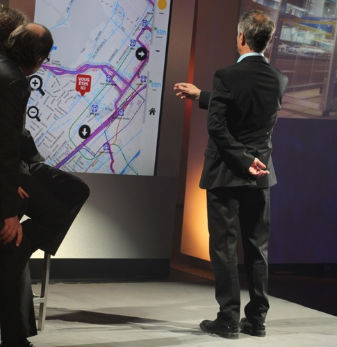 Claude Foisy demonstrates gesturing in front of the screen