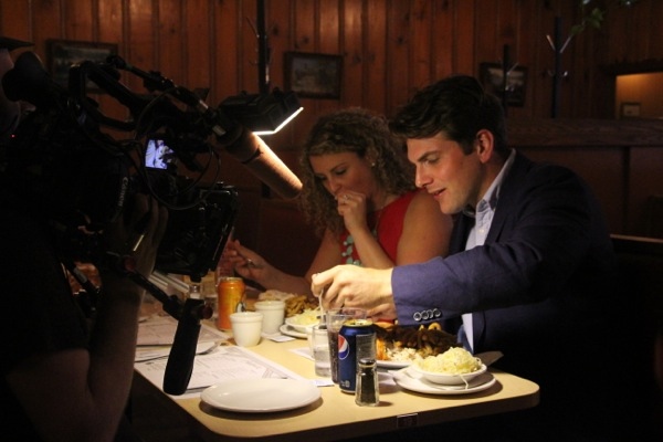 Matt Silver, shooting a segment at Chalet BBQ