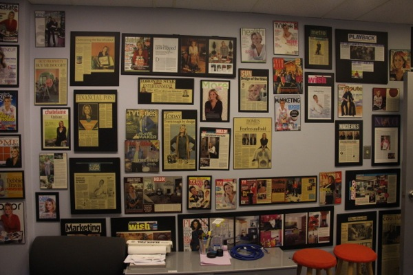 The other side of the Only in Montreal studio is a shrine to Debbie Travis