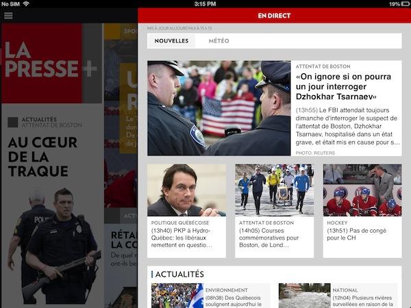 """La Presse+'s """"en direct"""" tab with breaking news"""
