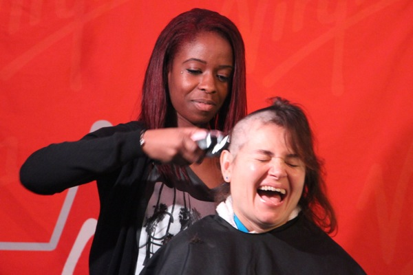One of many who braved the Shave to Save event and went bald or nearly bald for the cause.