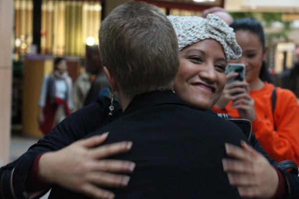 Many cancer survivors and others gave hugs and other forms of thanks for Christine Long's efforts.