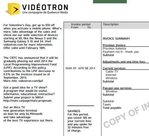 Videotron bill