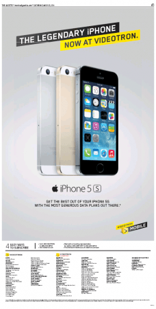 One of many ads in Saturday papers announcing Videotron's introduction of the iPhone.