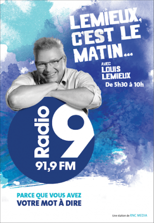 "Louis Lemieux, former weekend morning host at RDI, is the new morning man at ""Radio 9"""
