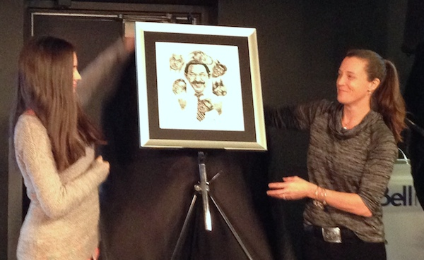 Gord Sinclair drawing unveiled by his daughter and granddaughter