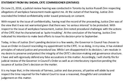 Raj Shoan statement