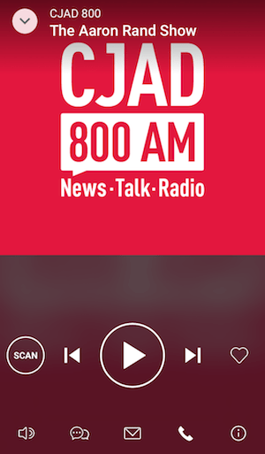 iHeartRadio app listening to CJAD.